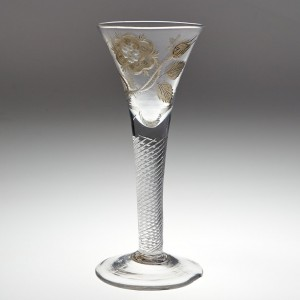 A Jacobite Engraved Wine Glass c1750