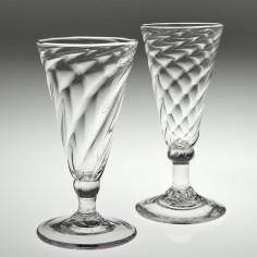 Two Wrythen Moulded Georgian Dwarf Ale Glasses c1770