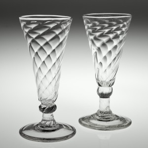 Two 18th Century Wrythen Moulded Ale Glasses c1770
