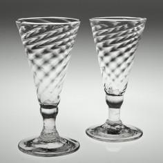 Two Wrythen Moulded Georgian Dwarf Ale Glasses c 1770