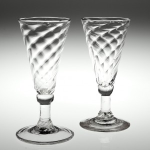 Two Wrythen Moulded Ale Glasses c1770