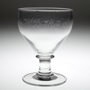 Victorian Glass Rummer Diamond Point Engraved W Boulton c1870