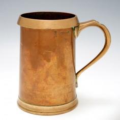 Copper Quart Tankard With Brass Rim c1915