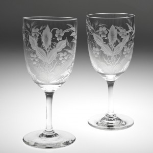 A Pair of Victorian Engraved Wine Glasses c1890