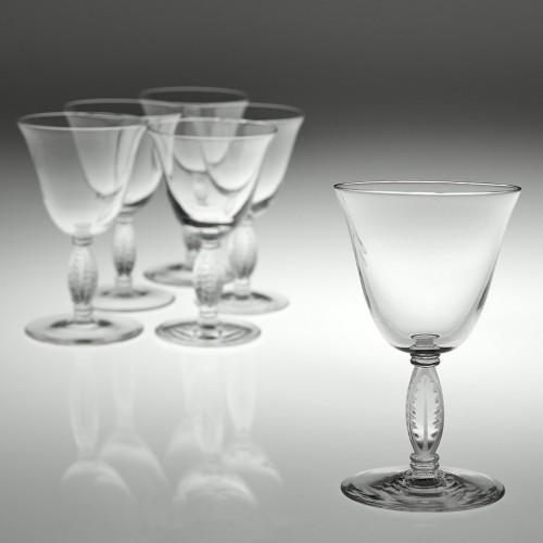 Six Lalique Fontainbleu Glasses Designed 1939