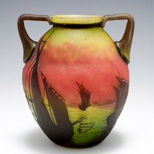 A Daum Twin Handled Cameo Glass Vase of Sailboats at Sunset c1910