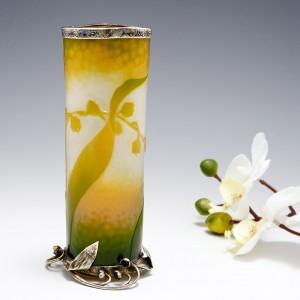 A Very Fine Rare Daum Cameo Glass Vase With Silver Mounts 1896-1900