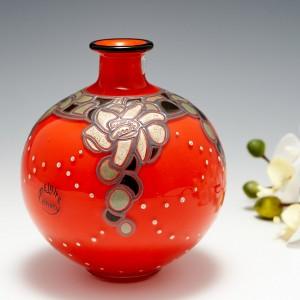 Delatte Nancy Enamelled Glass Vase c1920