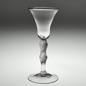 Double Knopped Air Twist Wine Glass c1780