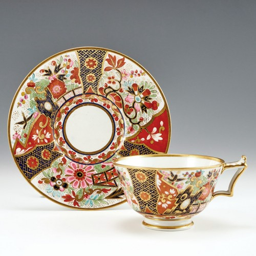 A Worcester Flight Barr and Barr Porcelain Teacup and Saucer c1820