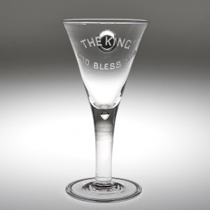 A George V Coronation Wine Goblet with Silver Sixpence