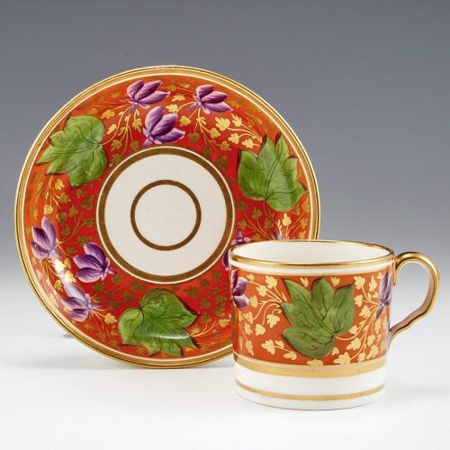 An English Bone China Coffee Can and Saucer c1810