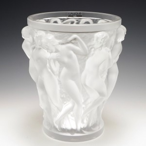 Lalique Bacchantes Clear and Frosted Glass Vase Marcilhac 12-200