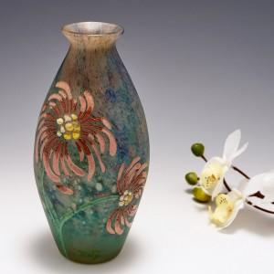 Andre Delatte Enamelled Cameo Glass Vase c1920