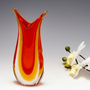 An Orange And Amber Sommerso Glass Vase c1980