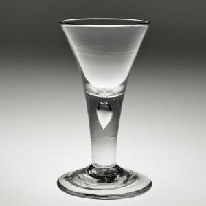 A Substantial Drawn Trumpet Plain Stem Wine Glass c 1750