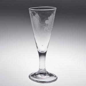 An Engraved Dwarf Ale Glass c1780
