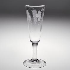An Engraved Tall Georgian Ale Glass c1750