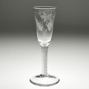 Engraved Opaque Twist Stem Ale Glass c1760