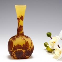 A Galle Cameo Glass Banjo Vase Wild Strawberry c1920