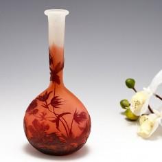 A Galle Cameo Glass Banjo Vase c1920