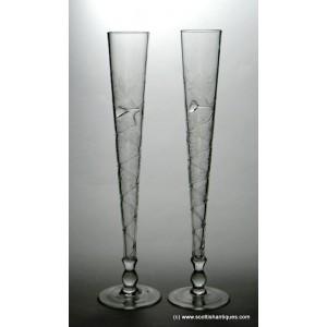 SOLD - Pair Jugendstil Champagne Flutes c1900