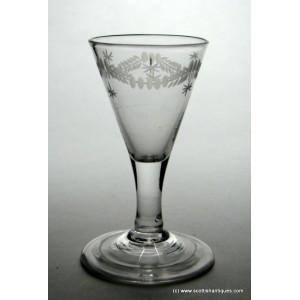 SOLD - Engraved Georgian Gin Glass c1740