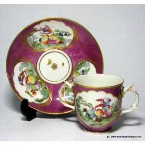 Chelsea Derby Porcelain Chocolate Cup and Saucer c1775