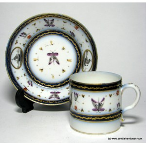 SOLD- Rare Verneuilh Bordeaux Porcelain Coffee Can & Saucer 1781-87