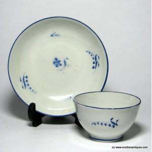 SOLD - New Hall Porcelain Tea Bowl & Saucer c1800