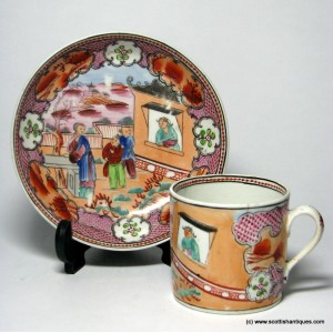 New Hall 'Boy In The Window' Coffee Can & Saucer c1810