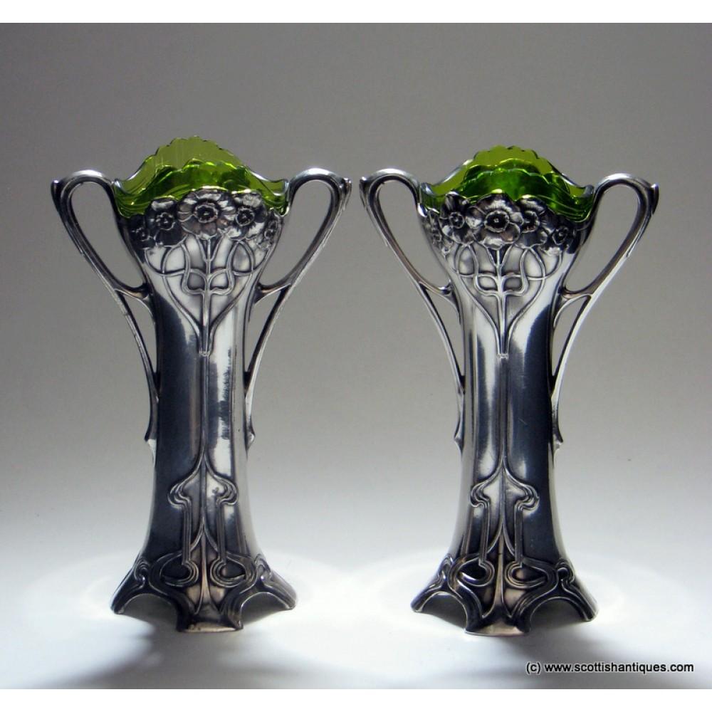 Rare pair of wmf silver art nouveau bud vases c1900 reviewsmspy