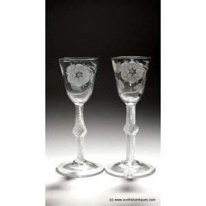 Pair Jacobite Engraved Air Twist Wine Glasses c1750
