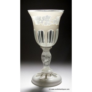 Bohemian Cased And Engraved Opaque Twist Glass Goblet c1890