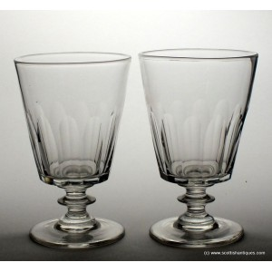 Pair William IV Bucket Bowl Glass Rummers c1830