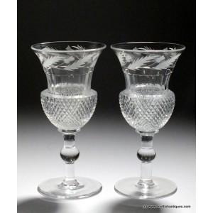 Pair Richardson Thistle Engraved Wine Glasses c1900
