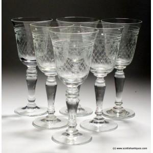 Six Pall Mall Lady Hamilton Pattern Sherry Glasses