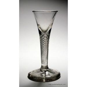 SOLD- Rare Georgian Firing Foot Cordial Glass c1745
