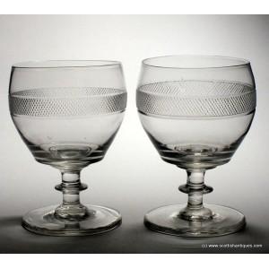 Pair of Georgian Cut Glass Rummers