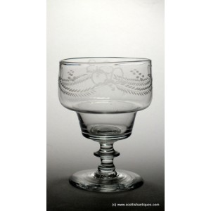 SOLD - Engraved Georgian Double Ogee Glass Rummer c1790
