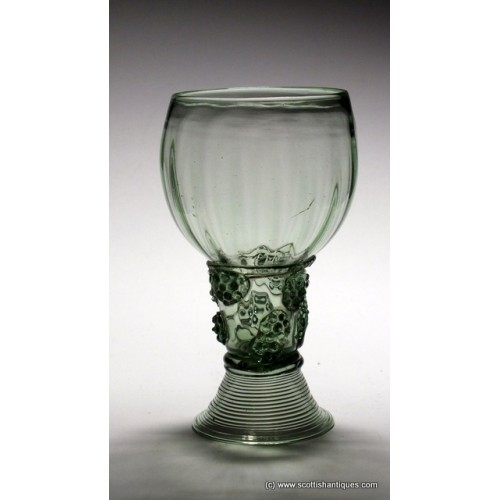 SOLD - 17th Century Dutch Roemer Wine Glass