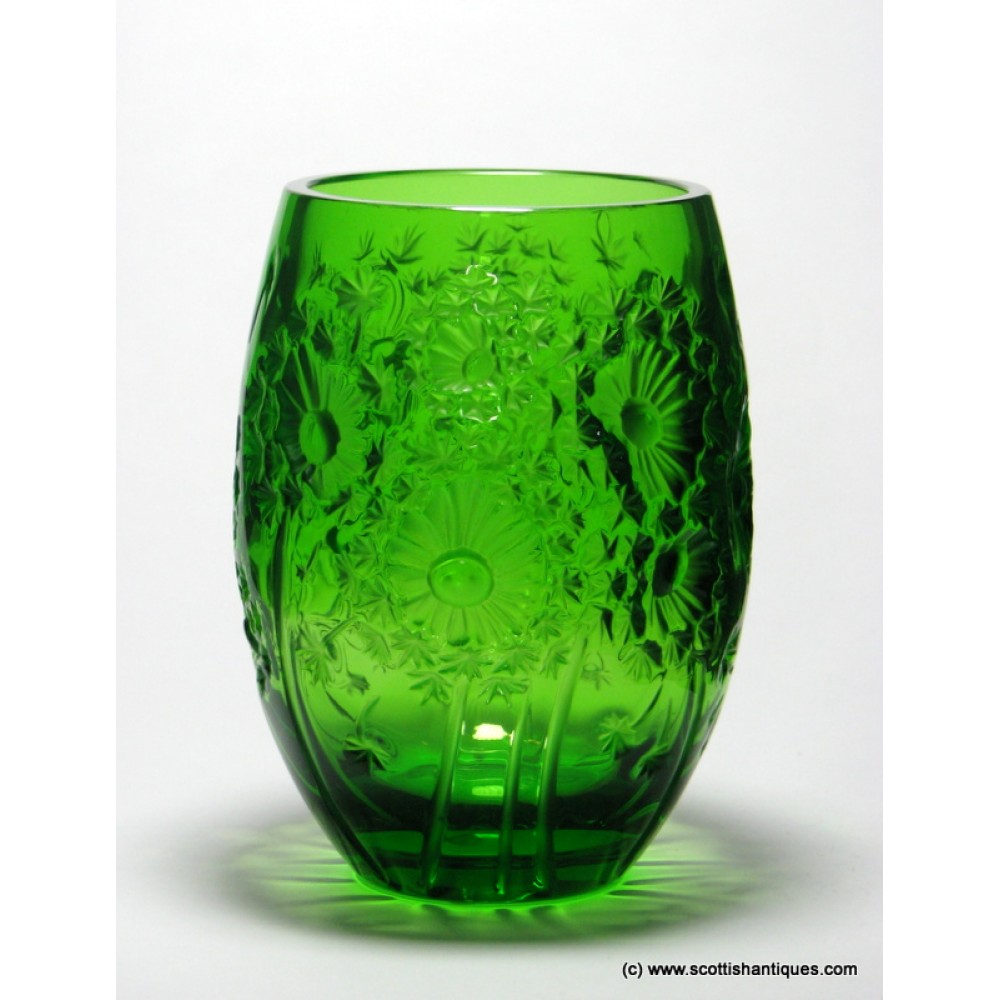 SOLD- Lalique 'Bucolique' Green Glass Vase