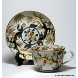 New Hall 'Imari Vine' Porcelain Tea Cup & Saucer c1815