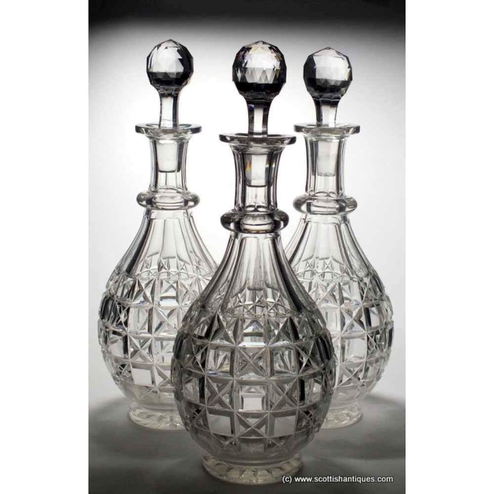 dating cut glass decanters Anglo irish cut glass tureen and fine and rare pittsburgh flint glass compote or punch bowl dating from example c 1790 and a pair of square cut decanters c.