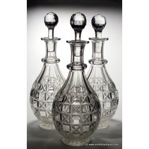 RESERVED I.S - Three Cut Crystal Decanters c1890-1920