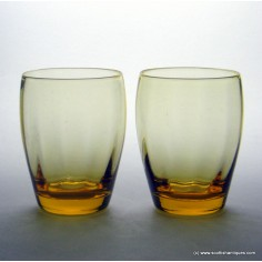 Pair of Whitefriars Amber Glass Tumblers 1960