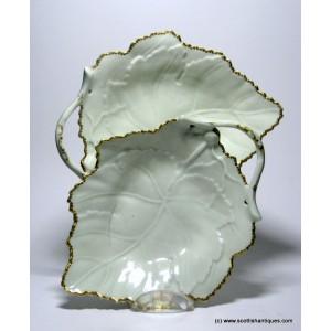 Pair of Worcester Porcelain Leaf Dishes c1770