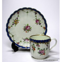 Worcester Fluted Coffee Can & Saucer c1780
