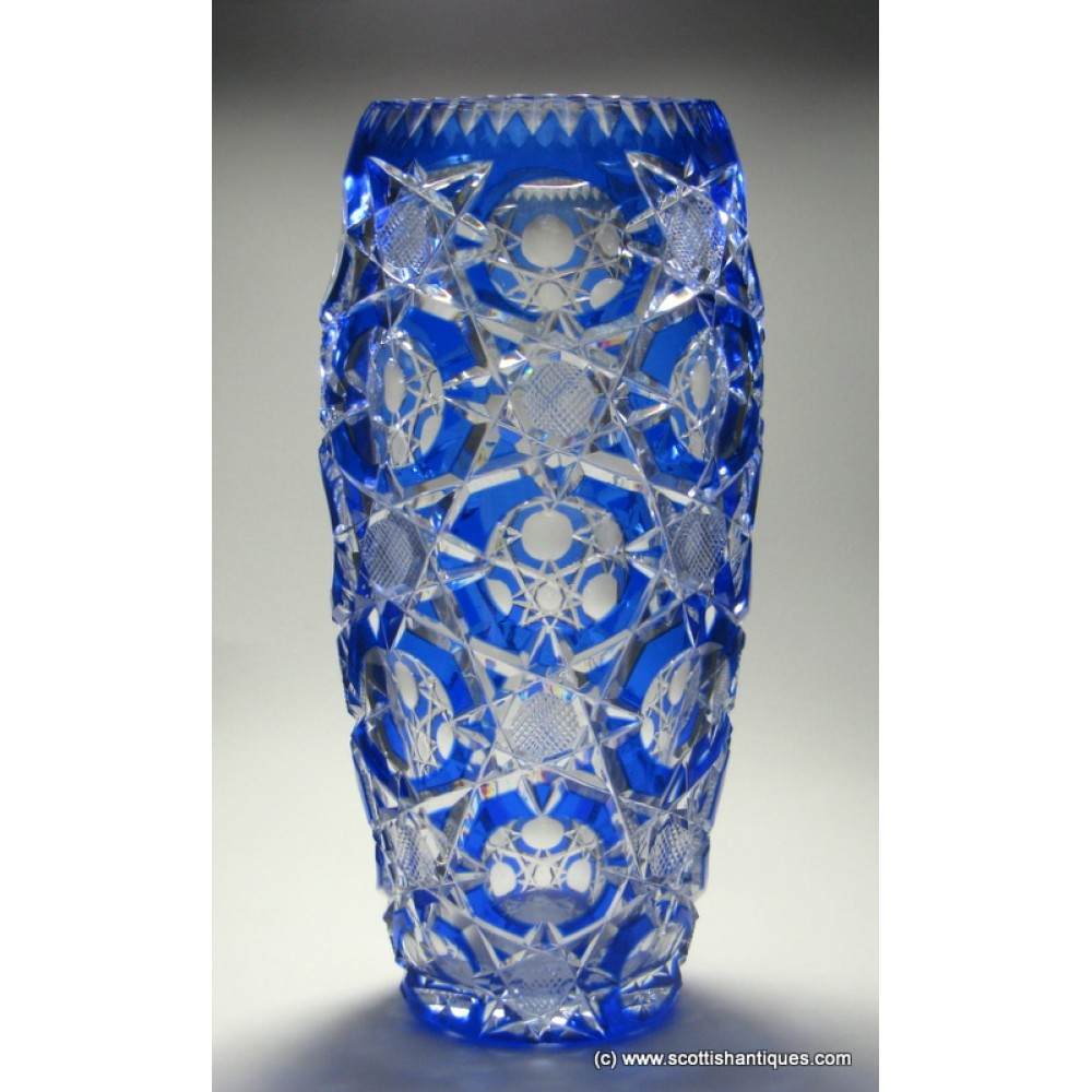 vintage glass blue vase cut