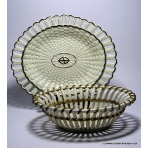 Wedgwood Creamware Chestnut Basket and Stand